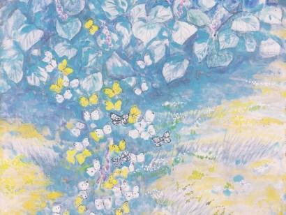 水彩のまちを歩く①(春日部たすく)《花に狂う蝶たち》